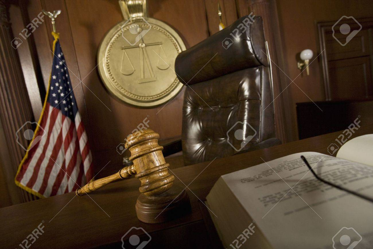Judges chair in court room Stock Photo - 12736626
