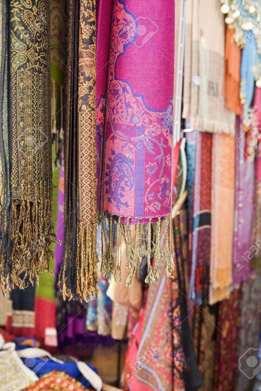 UAE Dubai colourful pashminas and fabrics for sale at Bur Dubai souq Stock Photo - 12737507