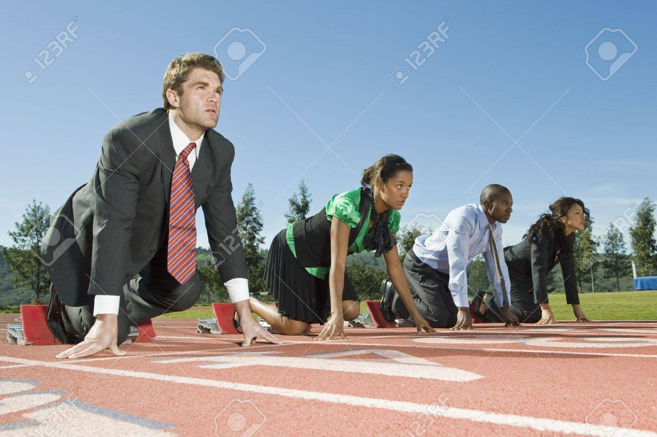 Business People At Starting Blocks Stock Photo - 12735394
