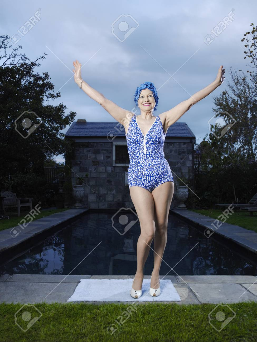 Senior Woman by the Pool Stock Photo - 18886457
