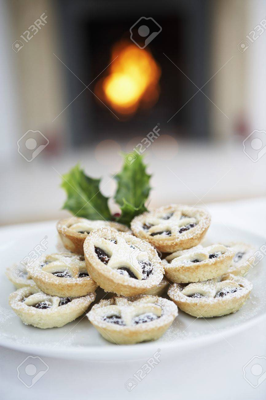 Plate of Christmas Cookies in Front of Fireplace Stock Photo - 18885986