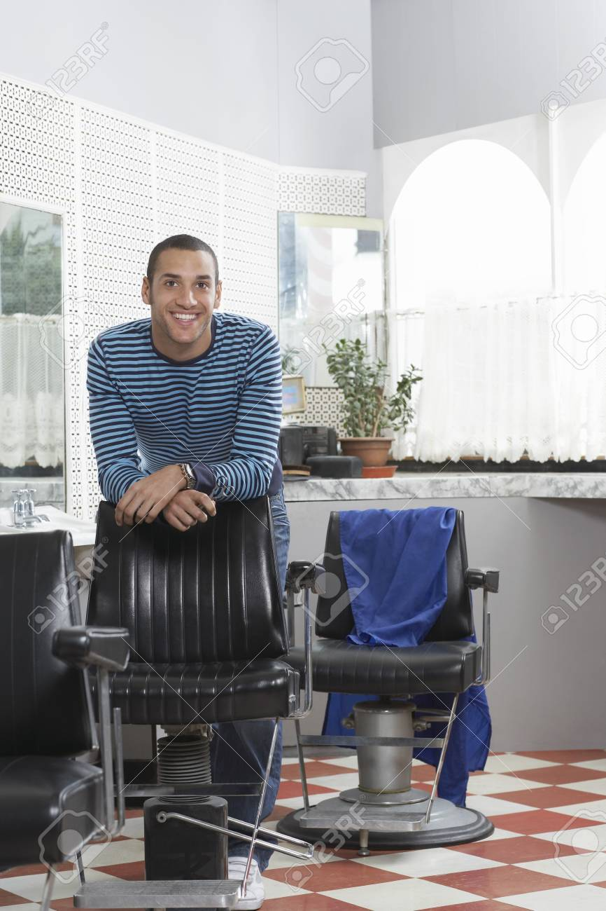 Man in barbers shop smiling portrait Stock Photo - 19076120