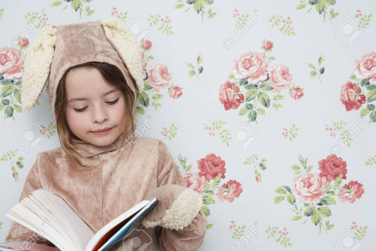 Young Girl 5 6 N Bunny Costume Reading Book Wallpaper With