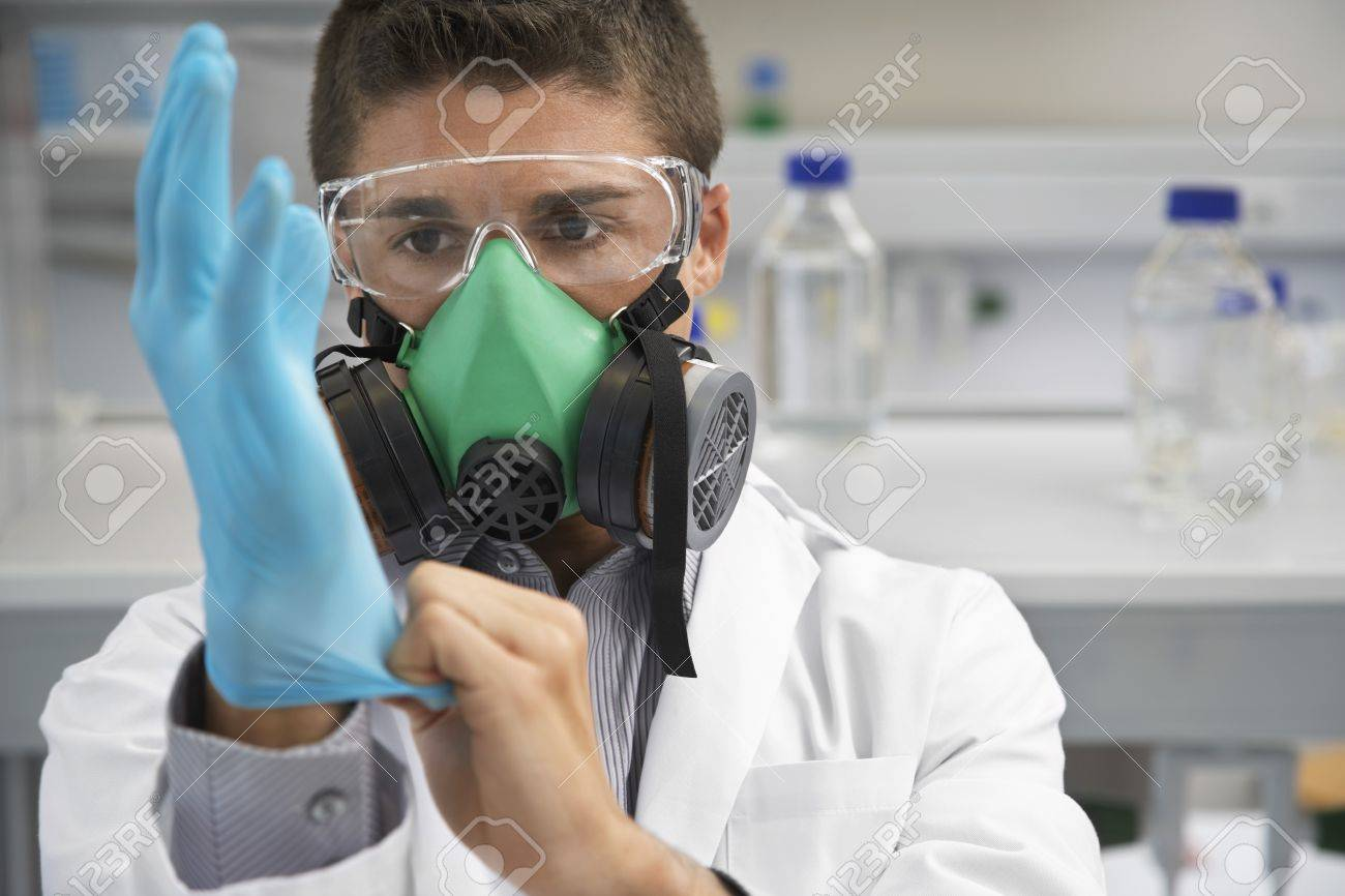 Gas Mask Gloves Scientist Wearing a Gas Mask