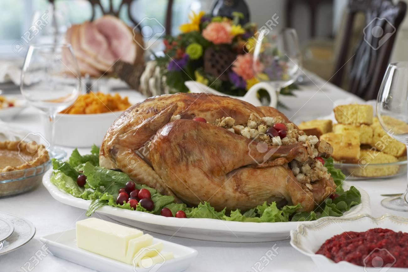 Thanksgivig dinner on table Stock Photo - 20715198