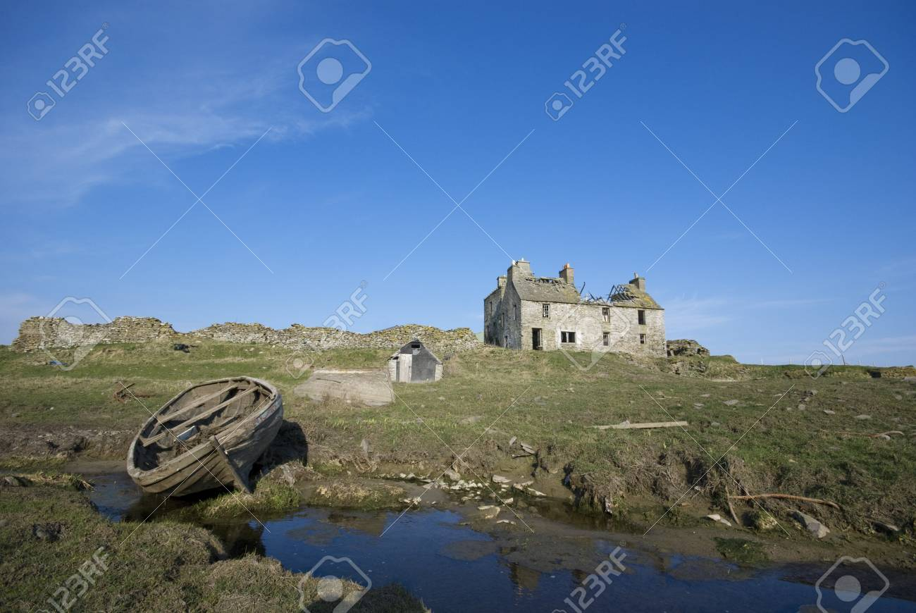Landscape with abandoned house and boat Stock Photo - 20717150