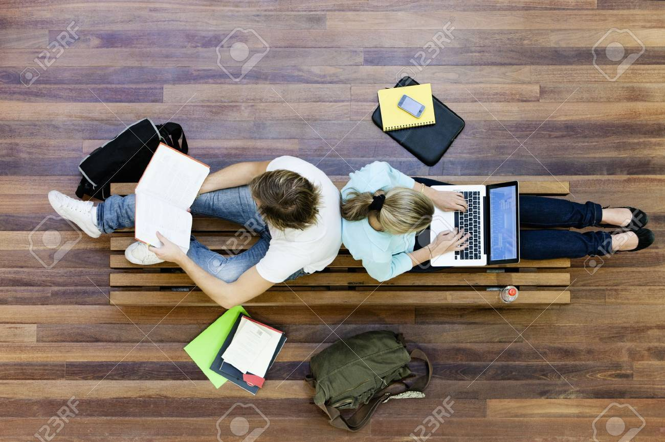 University students studying from above Stock Photo - 20739928