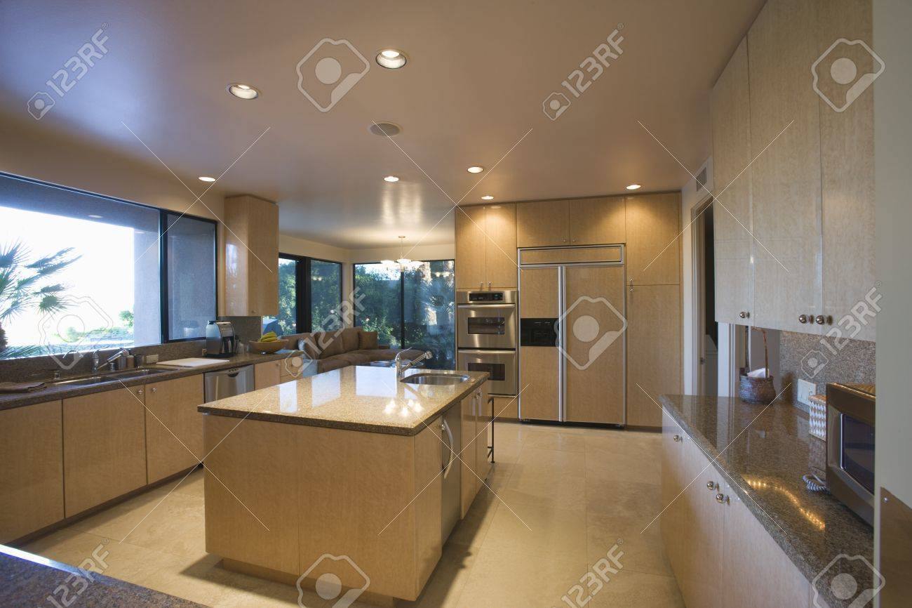 open plan kitchen in neutral colours palm springs stock photo