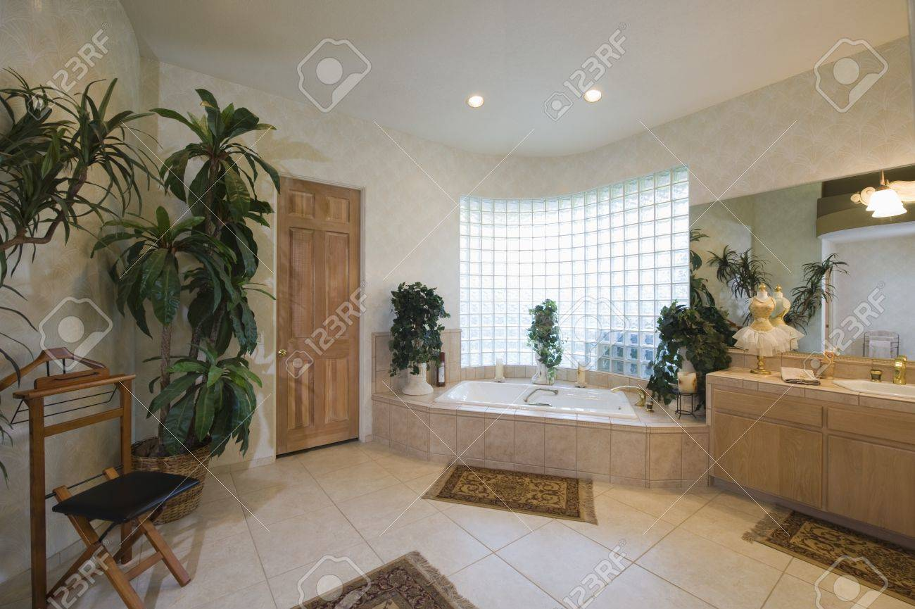 Bathroom with glass brick window and trouser press Stock Photo - 20740012