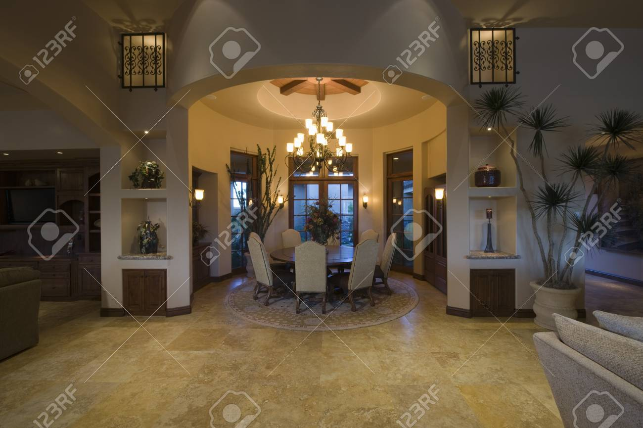 Lit Circular Dining Room Of Palm Springs Home Stock Photo Picture And Royalty Free Image Image 20740019