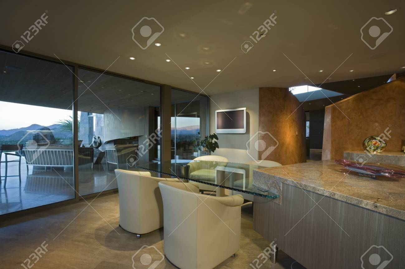 Interior with furniture and large windows Stock Photo - 20741866