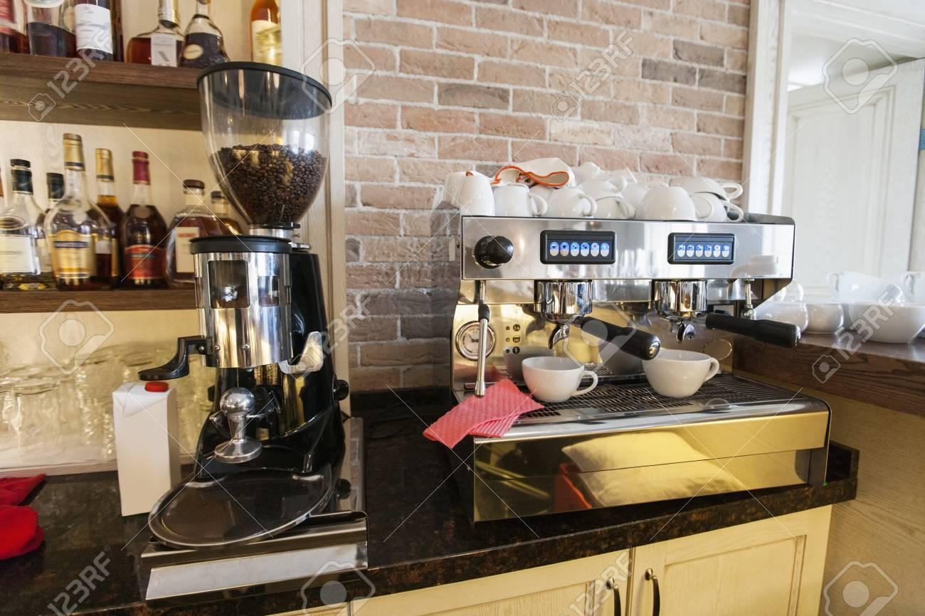 Coffee Maker And Espresso Machine At Restaurant Counter
