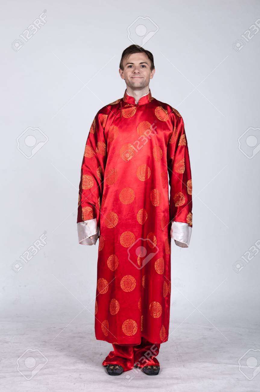 Caucasian Male In Traditional Chinese Wedding Attire