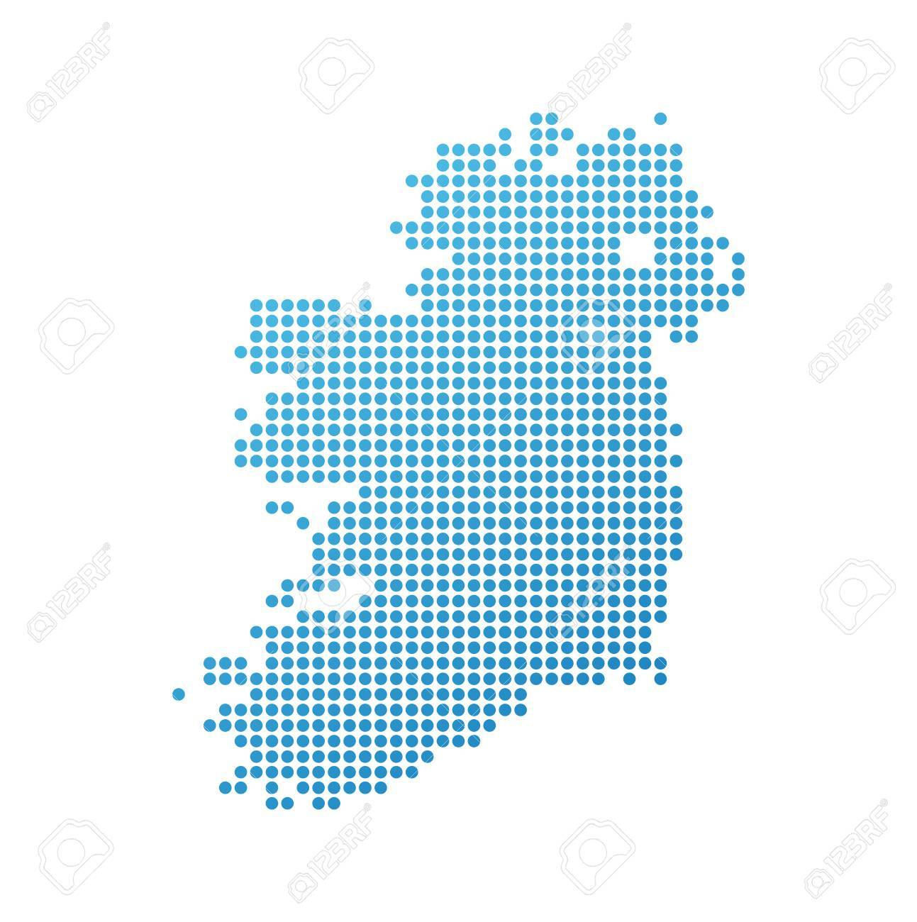 Detailed Map Of Ireland Vector.Map Of Ireland Vector Icon In Blue Modern Style Royalty Free
