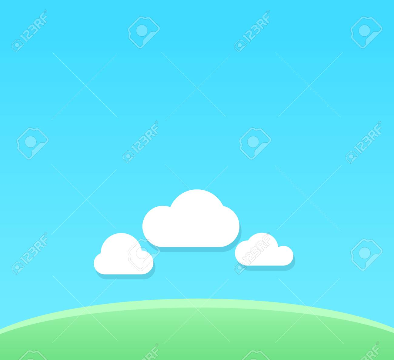 a vector cartoon background of clear day with copy space backdrop