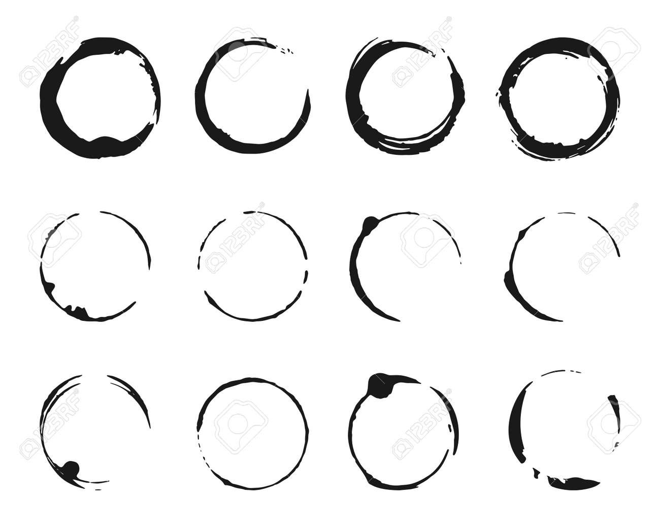Set of brush strokes circles of paint. Grunge texture coffee ring stains. Template glyph for round frames, icons, design elements. Black abstract logo, label, circle. Isolated vector illustration - 151838636