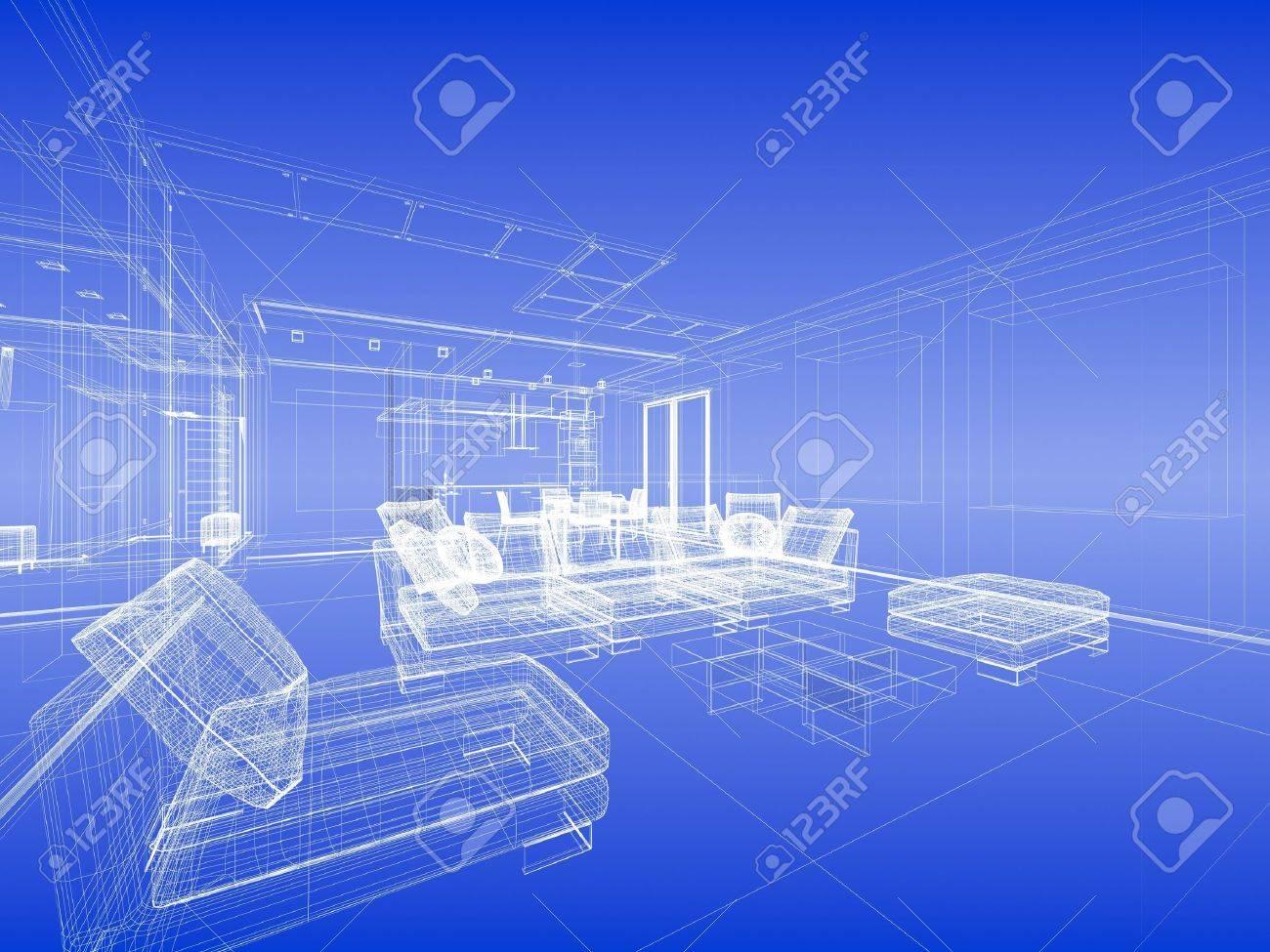 Abstract wireframe interieur van de woonkamer open ruimte over ...