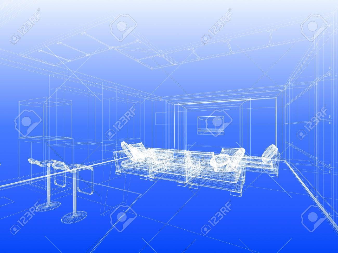 Abstract Wireframe Interieur Van Woonkamer Open Ruimte Over Blauwe ...