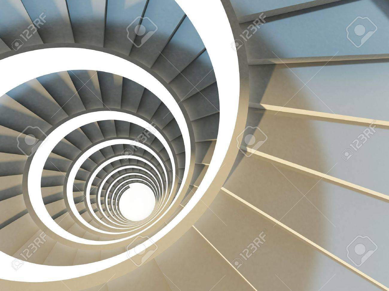 Abstract Endless Spiral Staircase With Soft Shadows View From