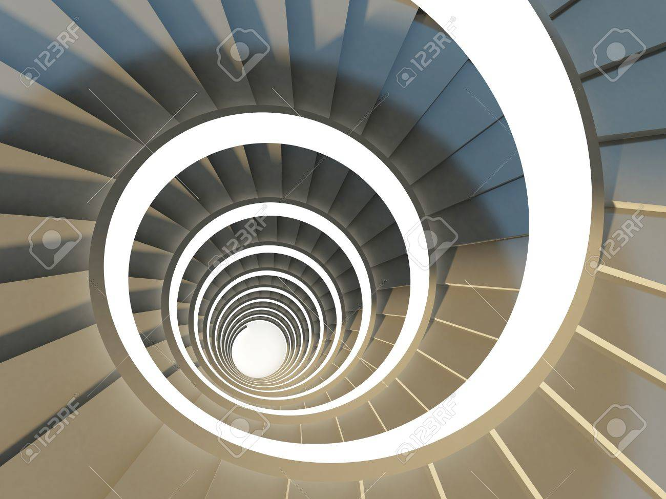 Abstract Spiral Staircase View From Above Stock Photo Picture And