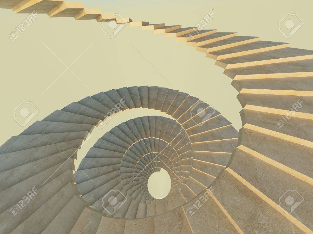 Concrete Endlecc Spiral Staircase View From Above Stock Photo