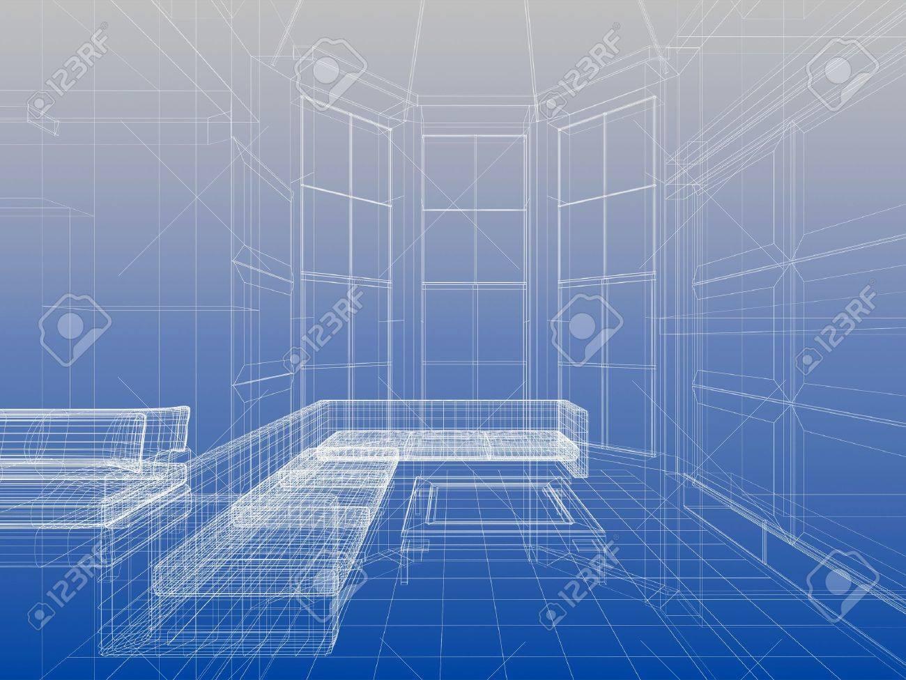 Zusammenfassung Drahtmodell Innere Wohnzimmer Offenen Raum über ...