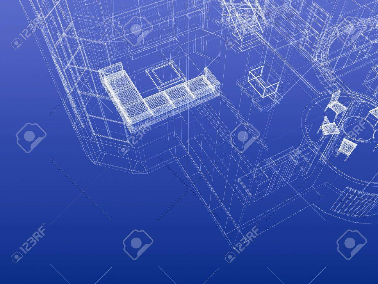 Fragment of house drawing blueprint style. Interior planning concept. 3d-rendering Stock Photo - 12507766