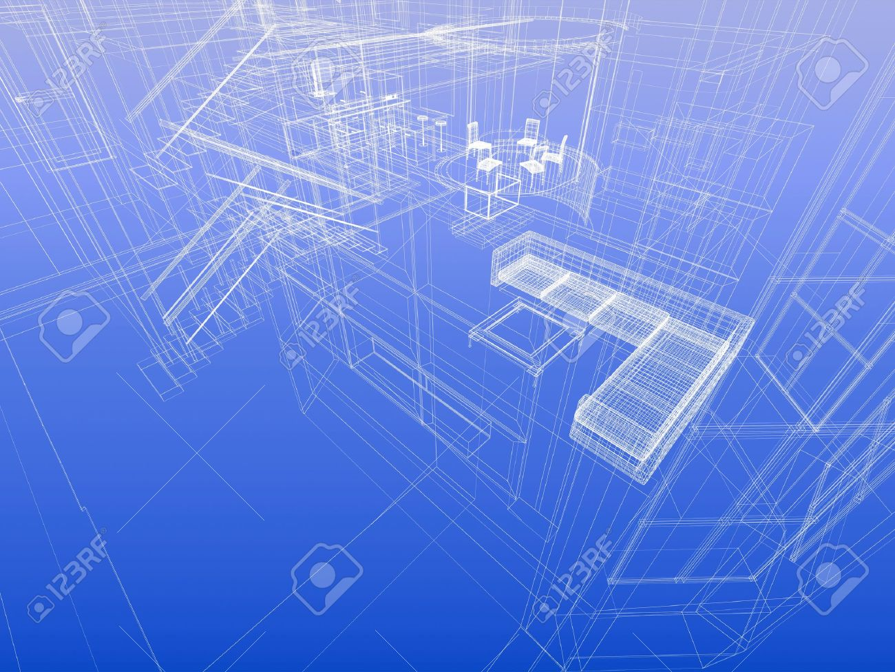 House concept. Wireframe interior of a house. Blueprint style. 3d-rendering Stock Photo - 12507767