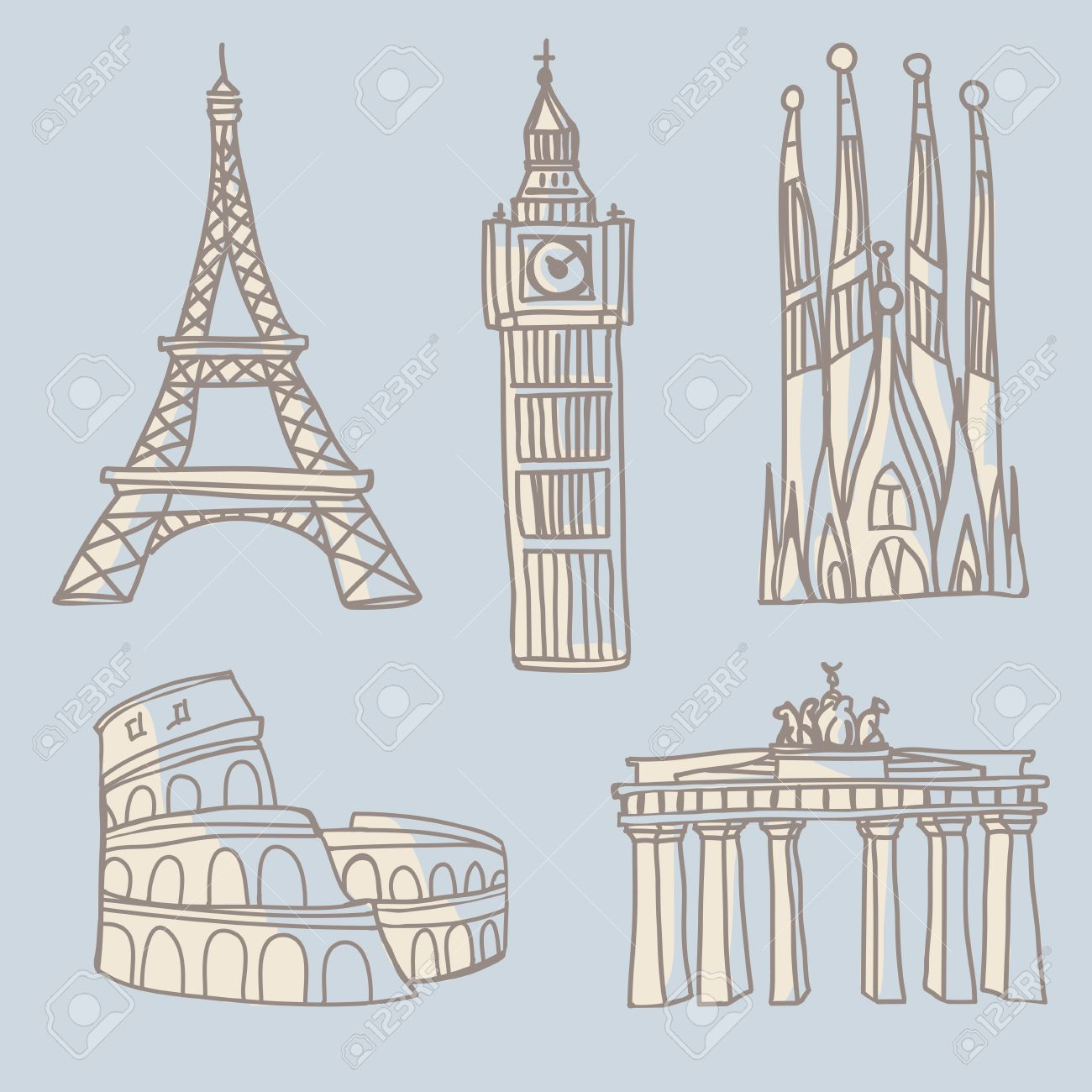 Doodle drawings of famous architectural landmarks  Eiffel Tower,