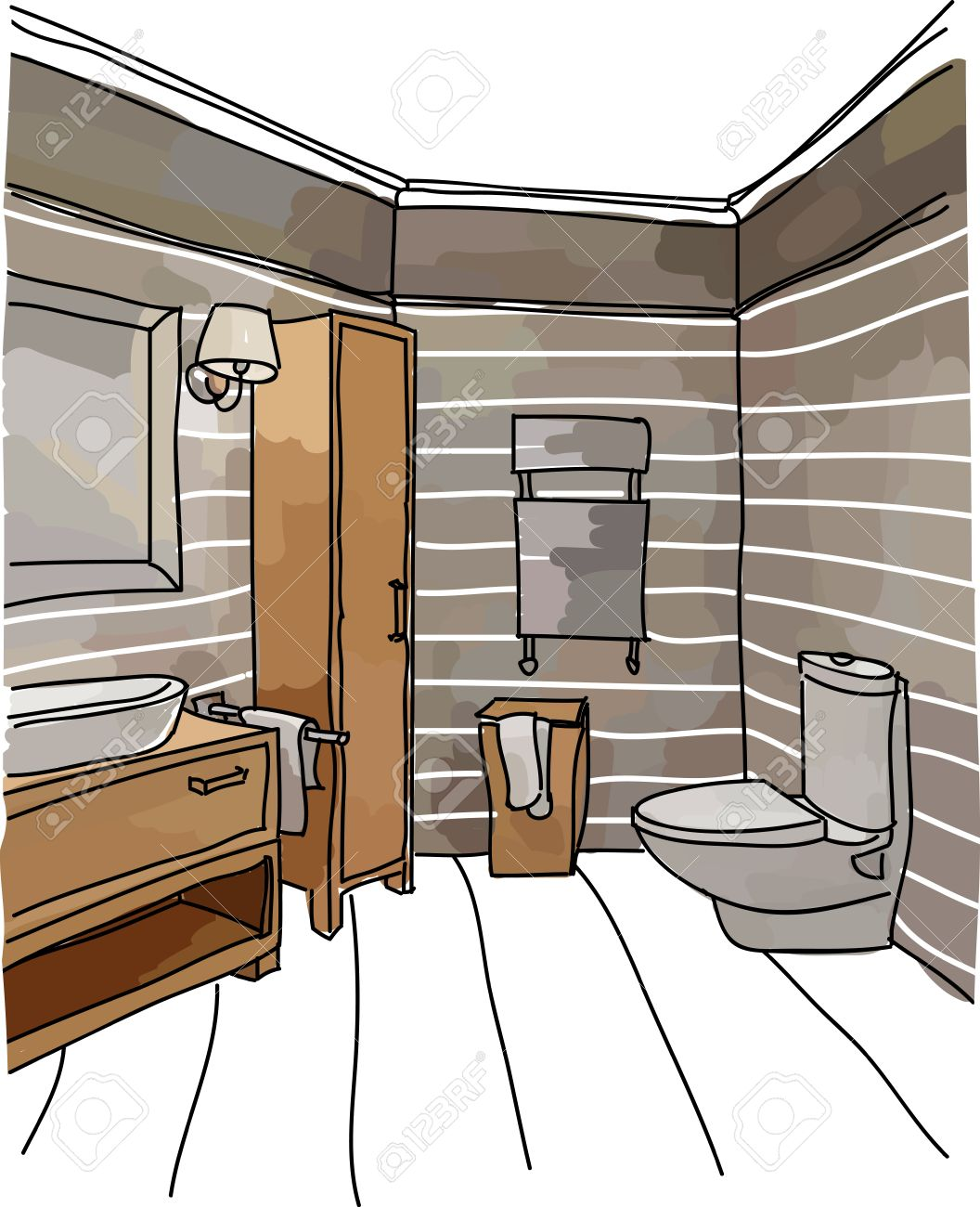 Color Drawing Of Bathroom Interior Modern Style Stock Vector