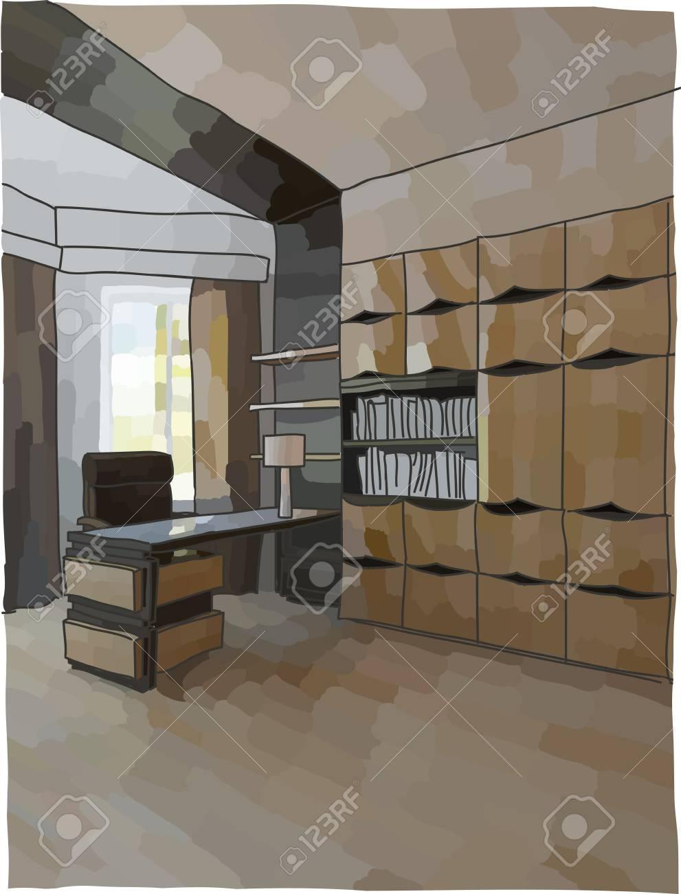 Farbe Abbildung Von Büro-Interieur, Moderne Linie Lizenzfrei ...