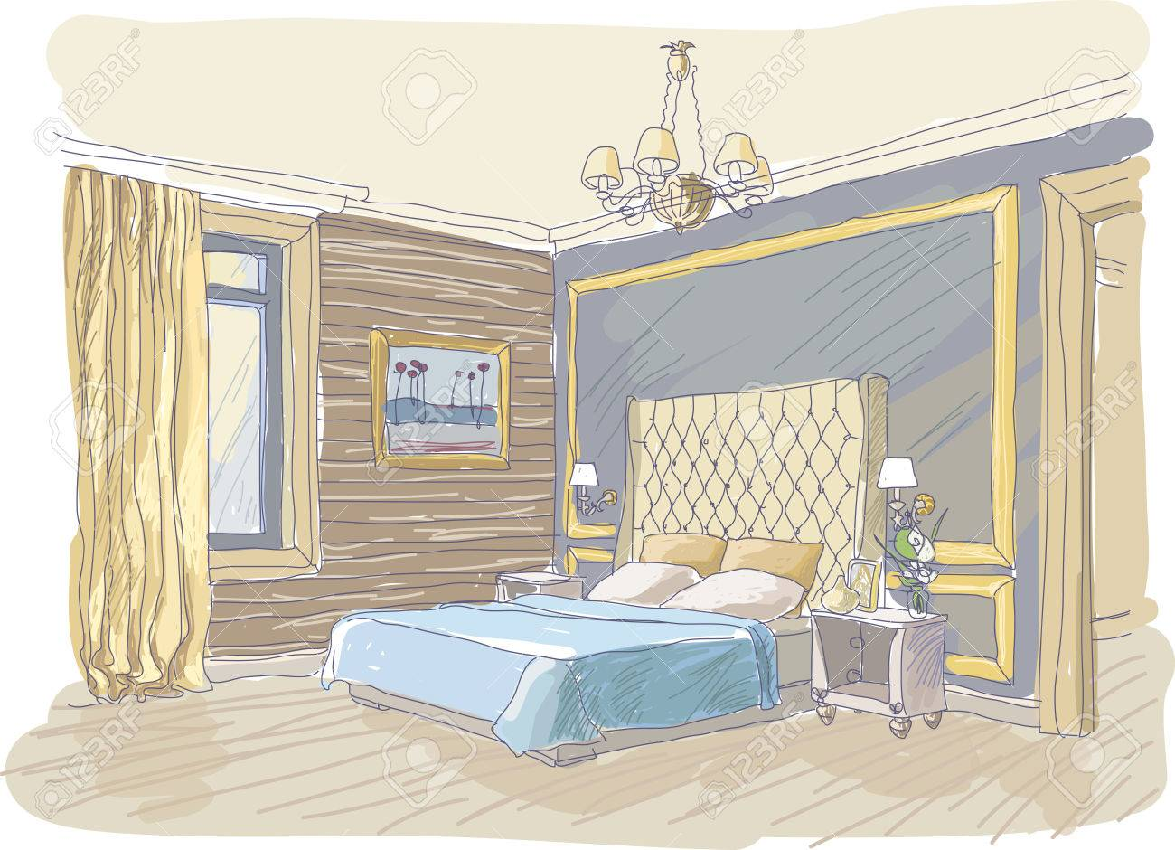 Bedroom drawing with color - Color Illustration Of Bedroom Interior Modern Style Stock Vector 41794604