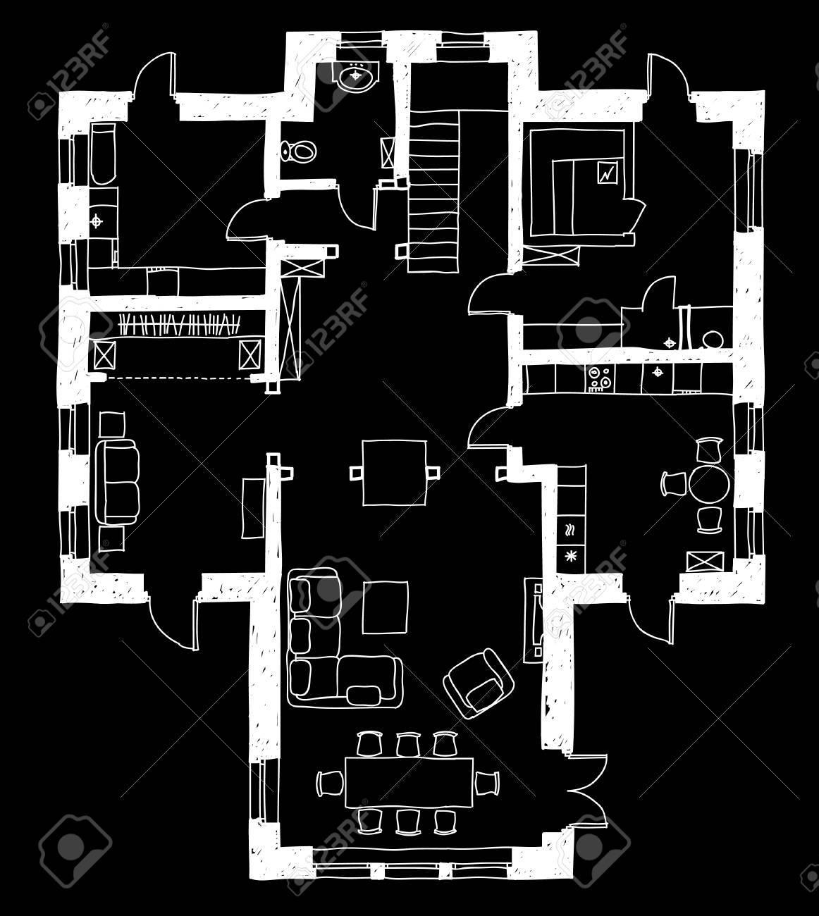 Cheap Dessin Plan Avec Des Meubles En Noir Banque D With Comment Dessiner  Un Plan D Architecte