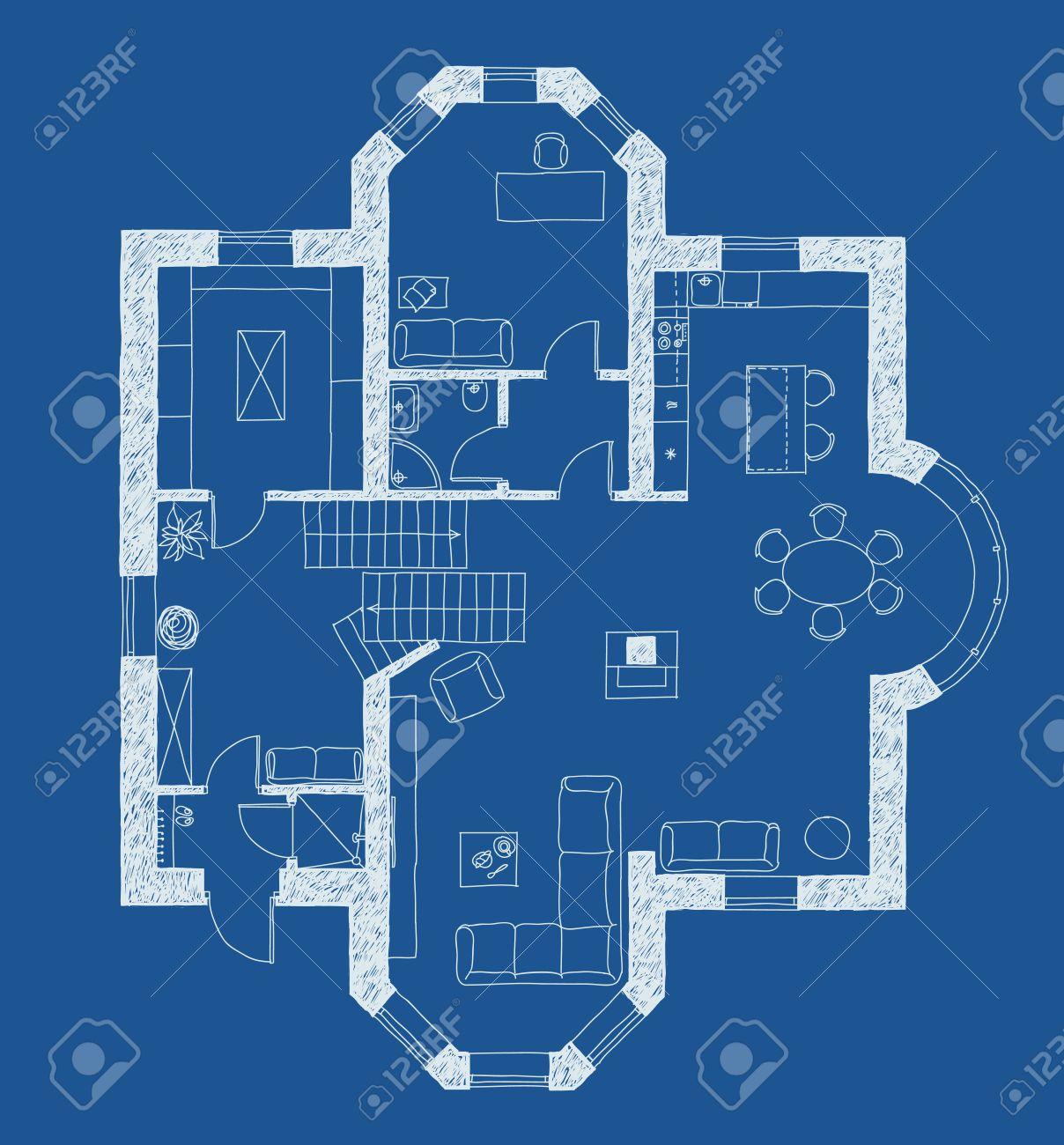 Amazing Dessin Plan Avec Des Meubles En Bleu Banque D With Comment Dessiner  Un Plan D Architecte