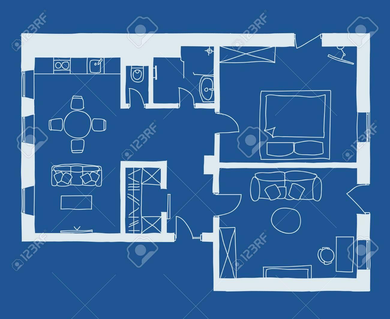 Dessin Plan Avec Des Meubles En Bleu Banque D With Comment Dessiner Un Plan  D Appartement.