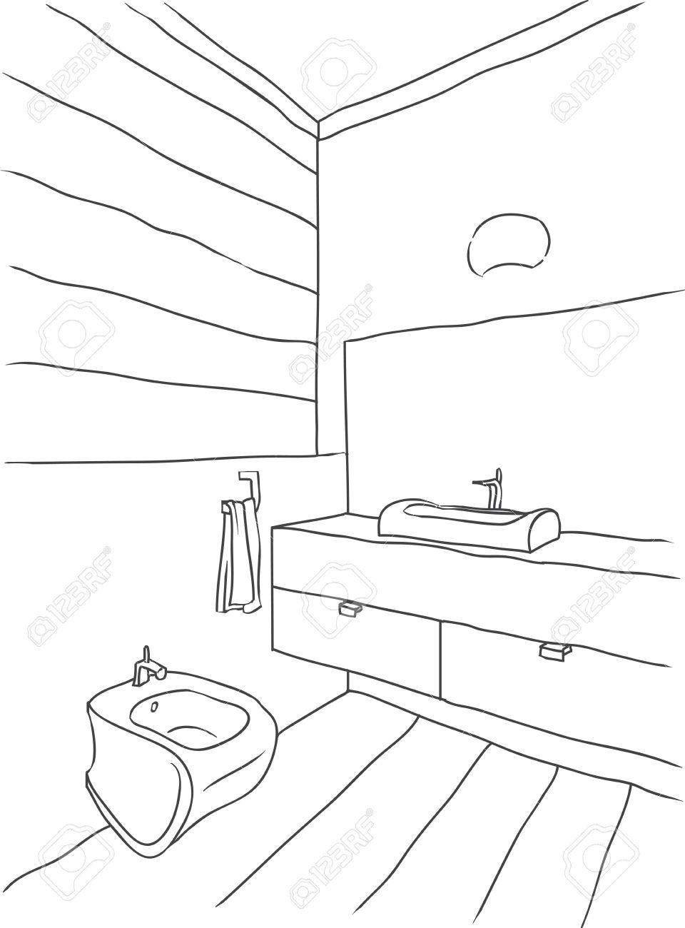 Bathroom drawing - Contour Drawing Of Bathroom Interior Modern Style Stock Vector 41773688