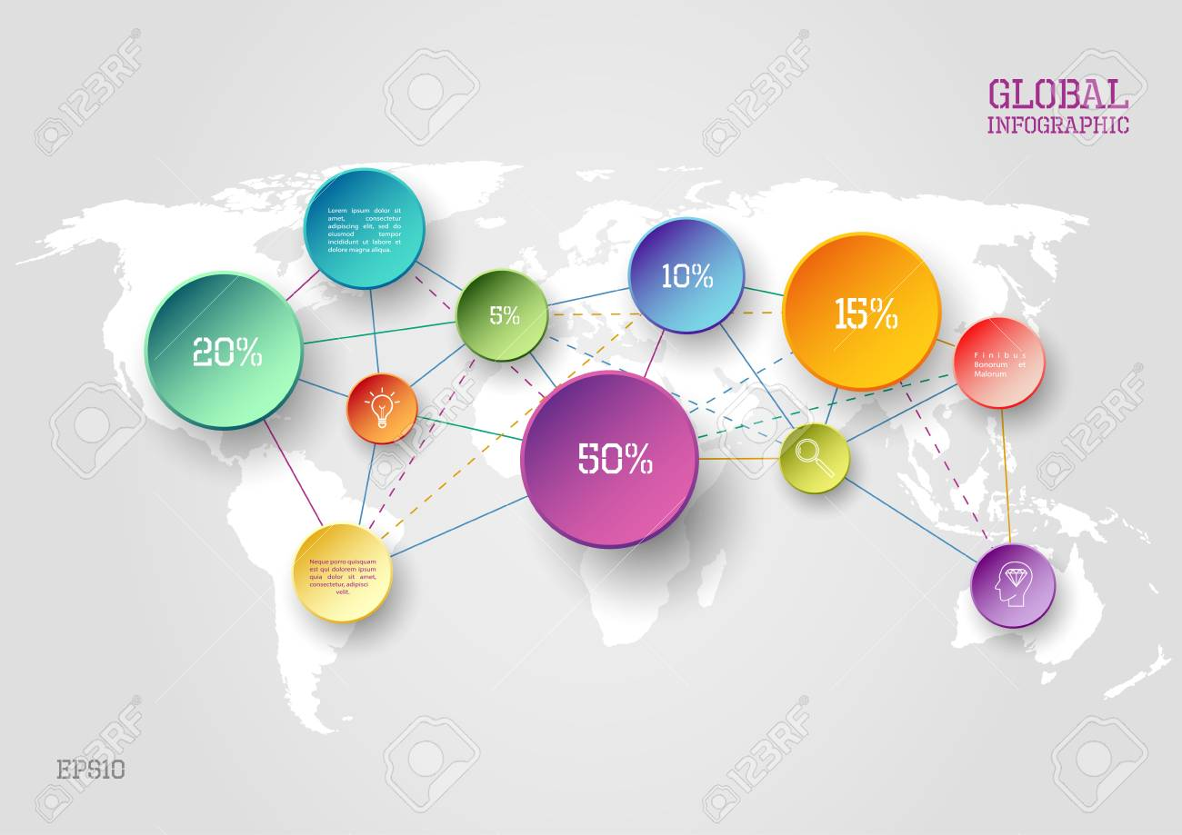 Vector world map infographic scheme with colorful circles and vector vector world map infographic scheme with colorful circles and lines gumiabroncs Images