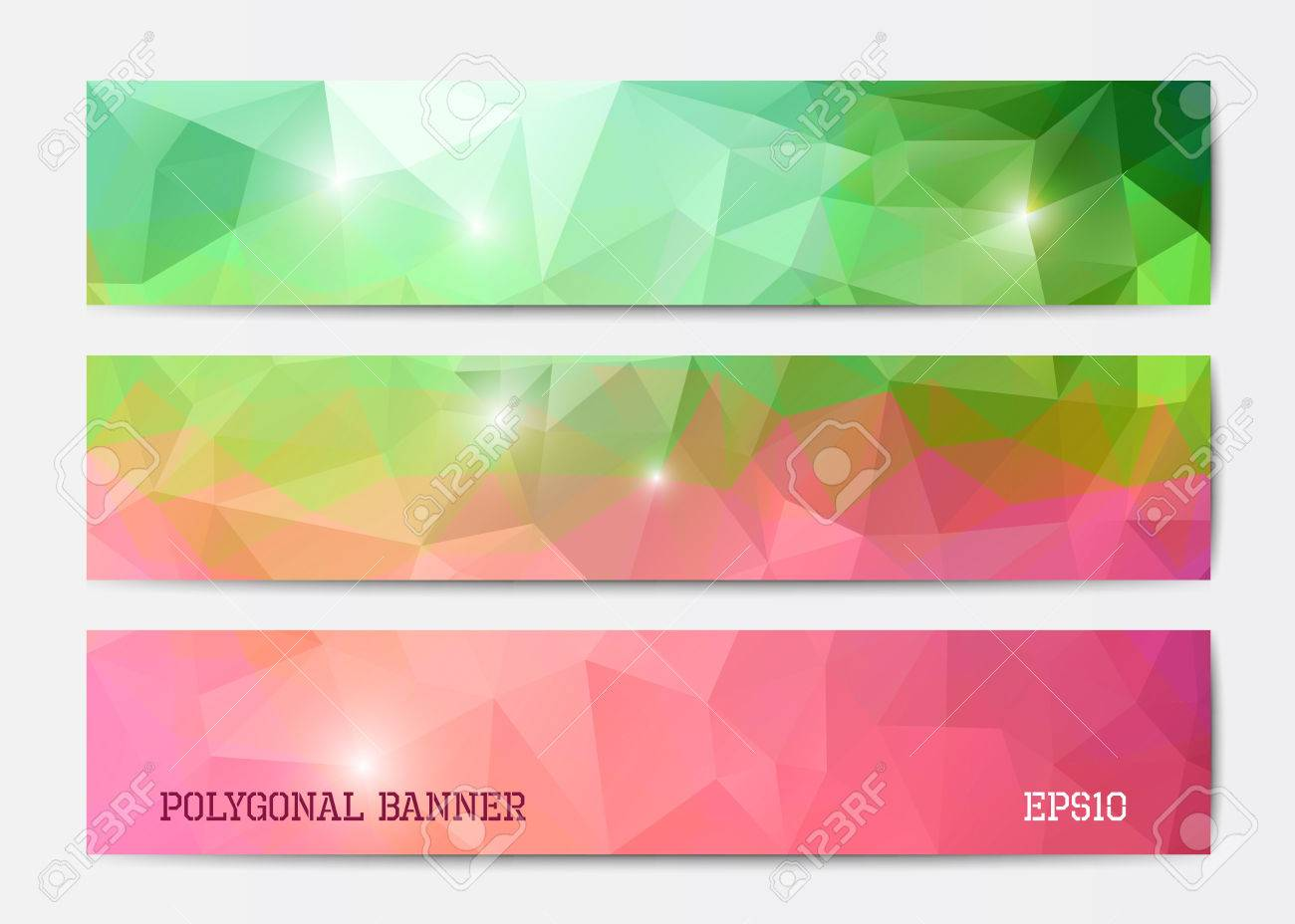 vector abstract polygonal triangle banner templates in green