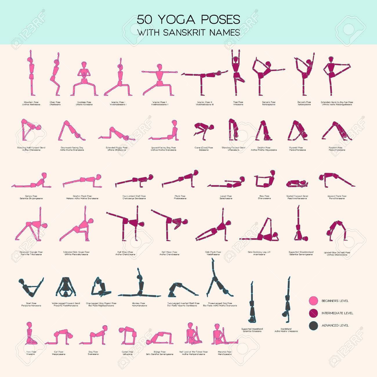 Vector set of stick figures doing yoga asanas, yoga people infographics, 50 basic poses for beginners and advanced learners - 60505348
