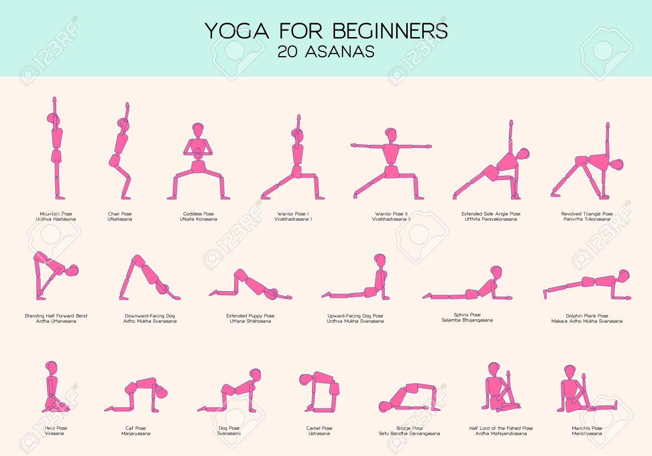 Vector set of stick figures doing yoga asanas, yoga for beginners, gymnastics people infographics, 20 basic poses - 60505349