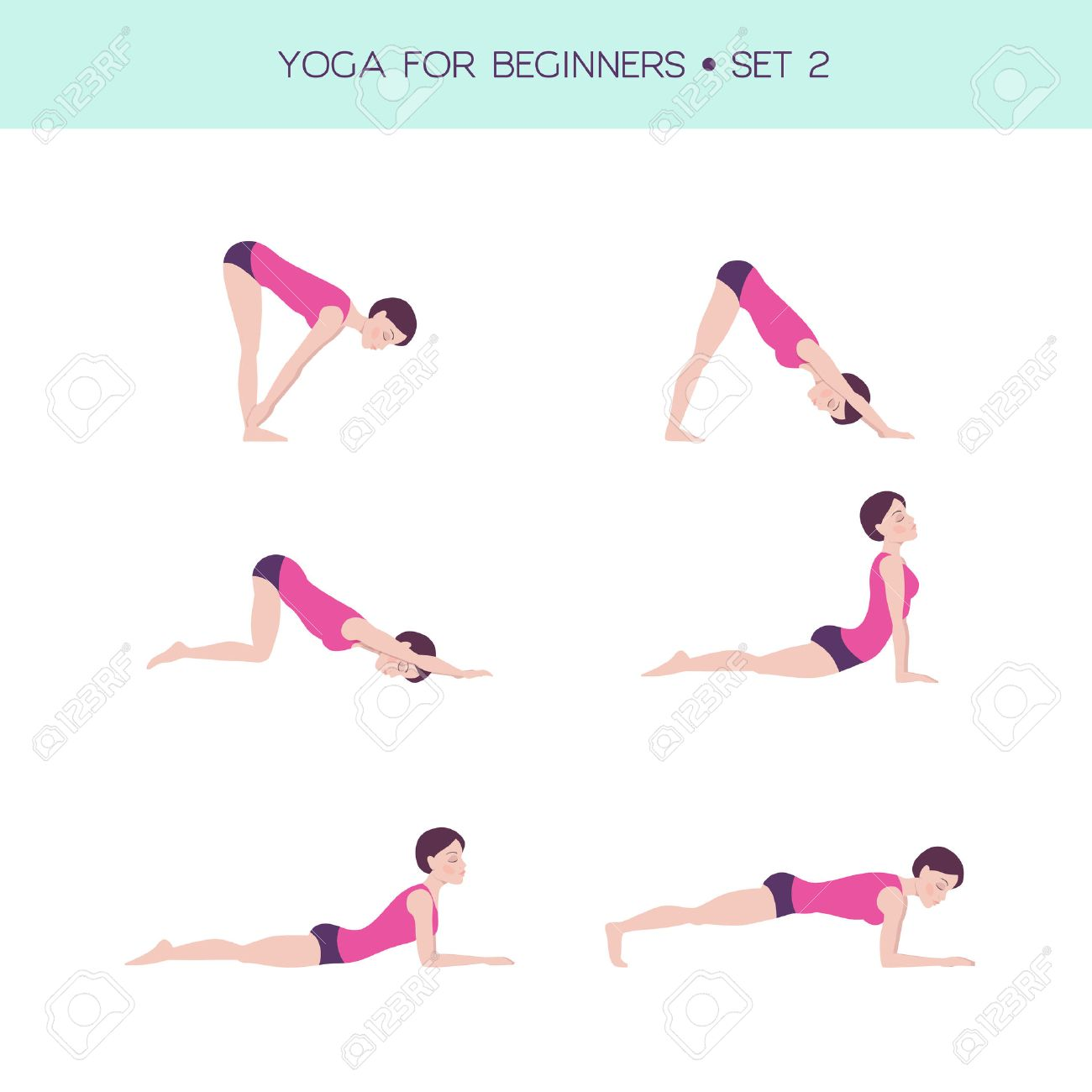 Vector Conjunto De Asanas Basicas De Yoga Yoga Para Principiantes Cifra Mujer Haciendo Ejercicios 6 Asanas Ilustraciones Vectoriales Clip Art Vectorizado Libre De Derechos Image 60505351