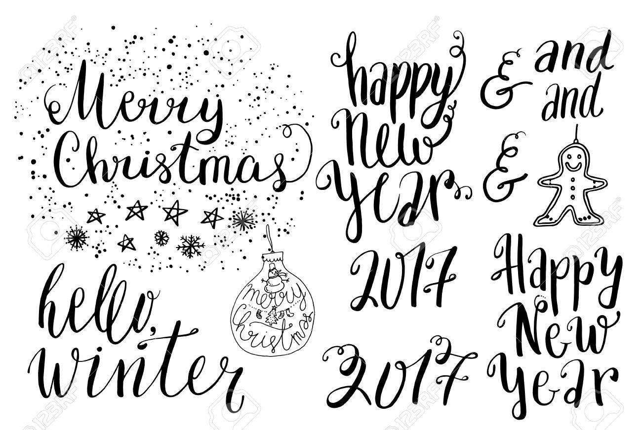 Happy New Year 2017 Set Of Lettering, Hand Drawn Ink Dots And ...