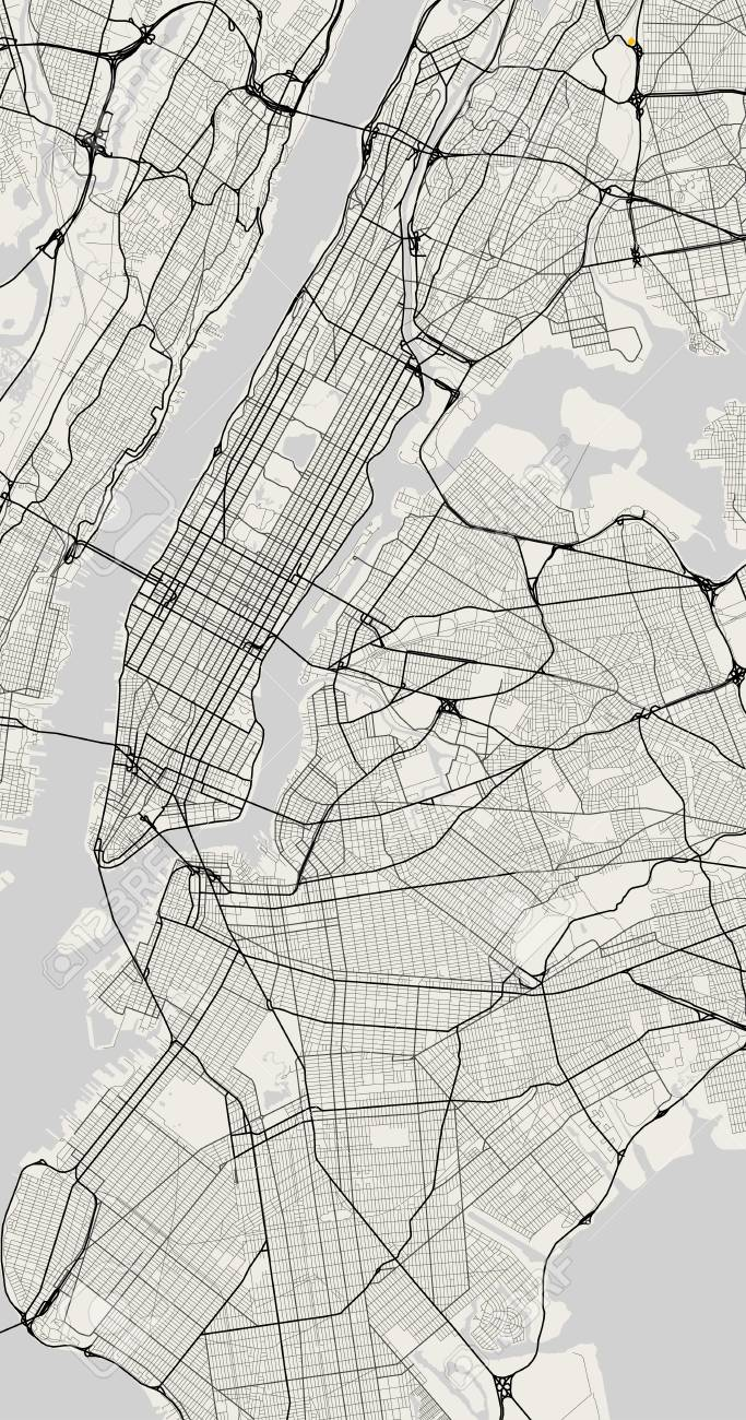 Vector Map Of New York In Black And White City Map Simple Style