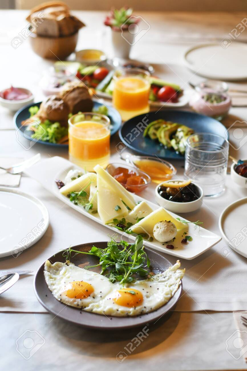 Turkish breakfast with various plates on a table - 122120369