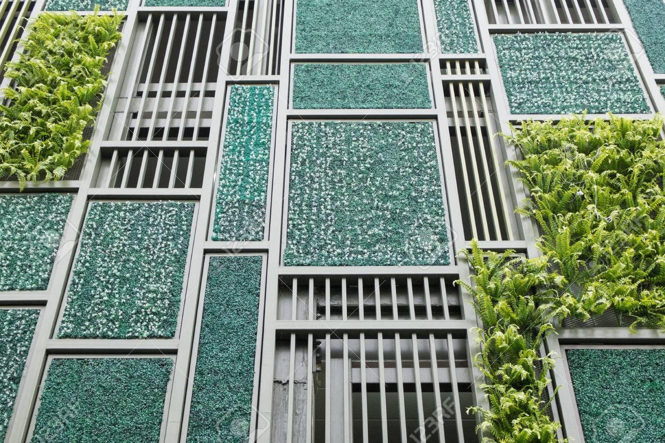 Green Facade Vertical Garden In Architecture Stock Photo Picture