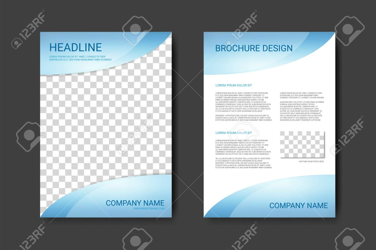 Brochure Template With Blue Details On Top And Bottom In A Flyer - A4 brochure template