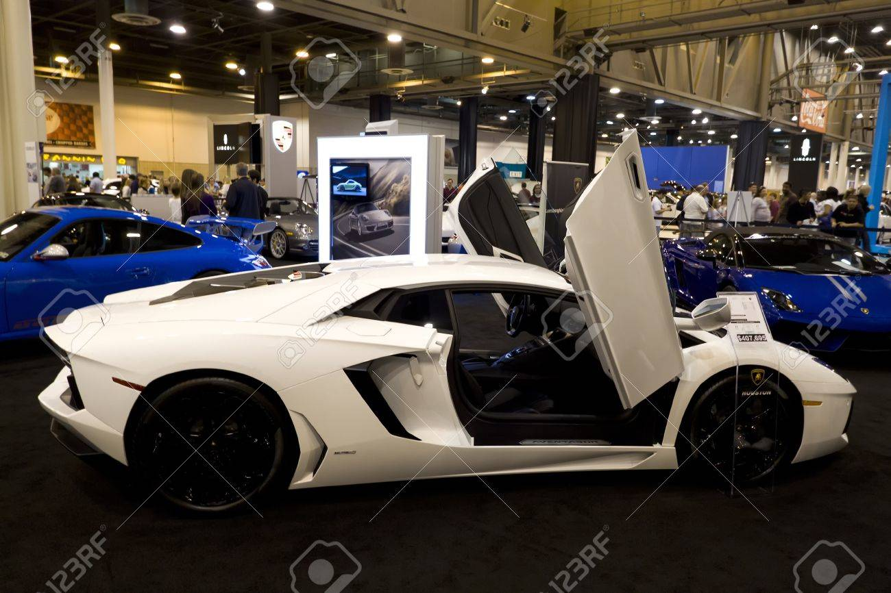 HOUSTON - JANUARY 2012: The Lamborghini Aventador LP 700-4 sports car at the Houston International Auto Show on January 28, 2012 in Houston, Texas. Stock Photo - 12572839