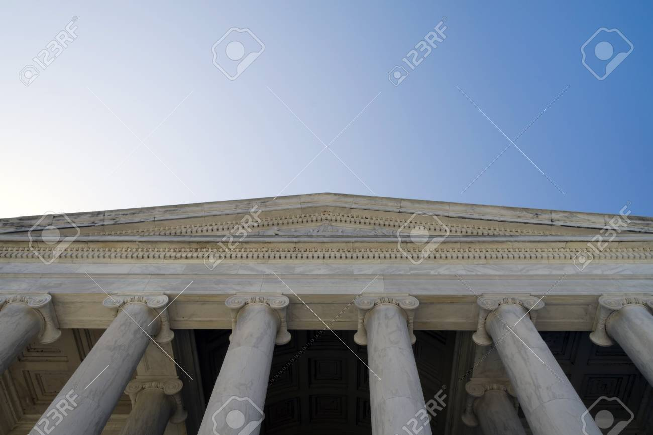 The entrance to the Jefferson Memorial building in Washington DC - 47179862