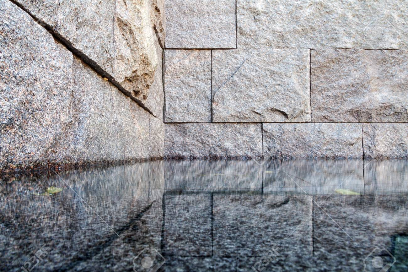Reflection pool of the Franklin Delano Roosevelt Memorial (FDR) in Washington D.C., USA - 105818086