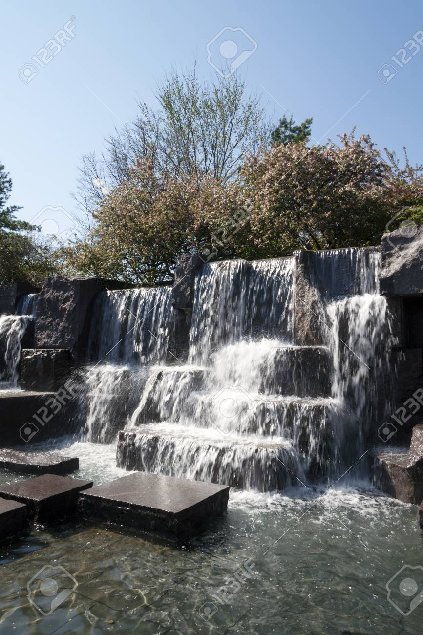Waterfall falls of the Franklin Delano Roosevelt Memorial (FDR) in Washington D.C., USA - 105817815